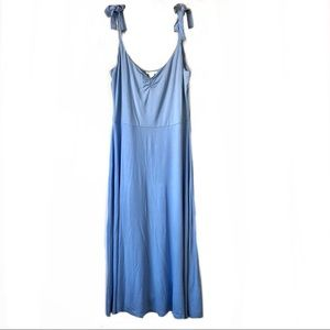 H&M Light Blue A-Line Midi Strapless Dress: Size L